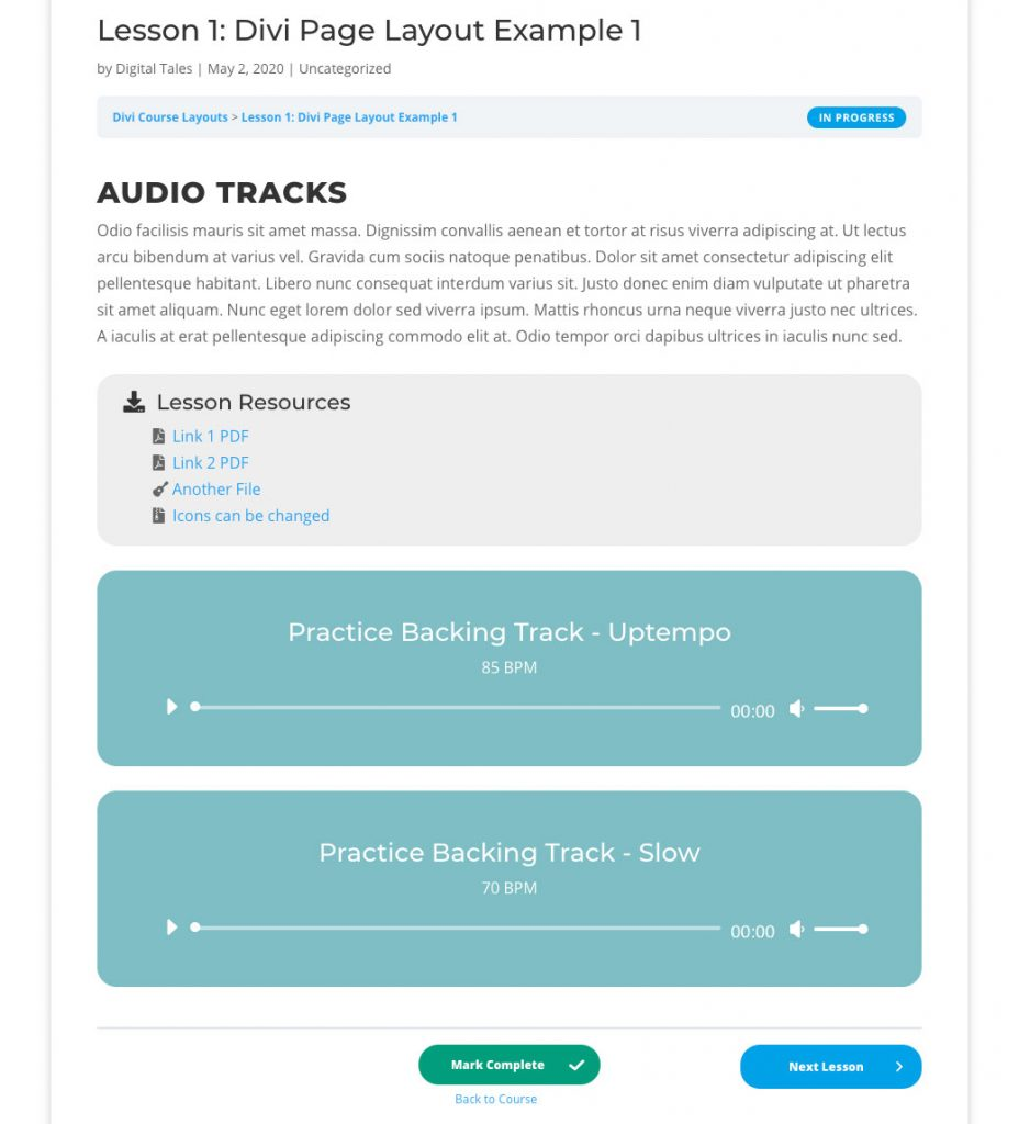 Learndash lesson layout customized with Divi